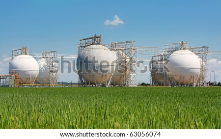 refinery reservoirs - stock photo