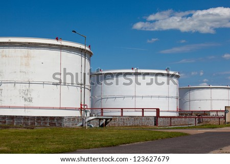 Refinery  tower at night - stock photo
