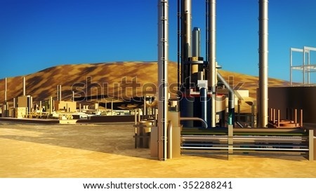 Refinery with machines at sunset - stock photo