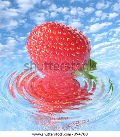 reflected fruit - stock photo