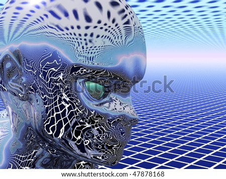 Reflecting Alien head with green eyes in geometric 3D environment