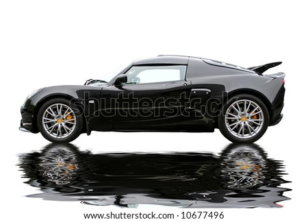 reflecting black lotus exige sportcar - stock photo