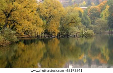 Reflecting colors during peak fall foliage season. - stock photo