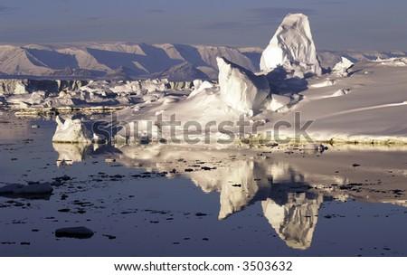 Reflecting icescape - stock photo