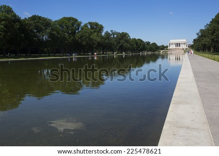 Reflecting pool and lincoln memorial in Washington, America.  - stock photo
