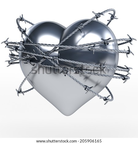 Reflecting steel, metal heart surrounded by shiny barbwire, 3d rendering on white background - stock photo