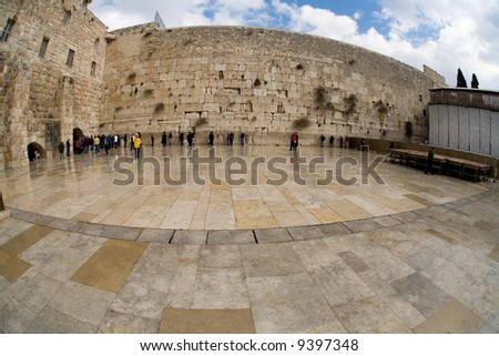 Reflection after rain in western wall in Jerusalem. - stock photo