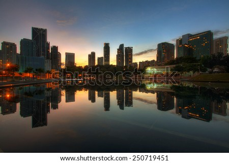 Reflection at Kuala Lumpur City Center - stock photo