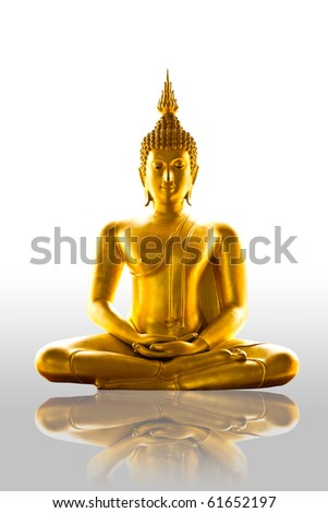 reflection buddha statue isolated - stock photo