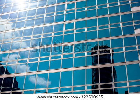 Reflection building on the glass