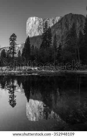 Reflection El Capitan, Famous climbing mountain, Black and White - stock photo