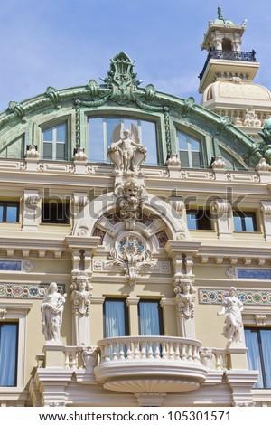 Reflection i mirror. Monte Carlo Casino is a gambling and entertainment complex located in Monte Carlo, Monaco. Complex includes a casino and Grand Theater de Monte Carlo. Architect - Charles Garnier. - stock photo