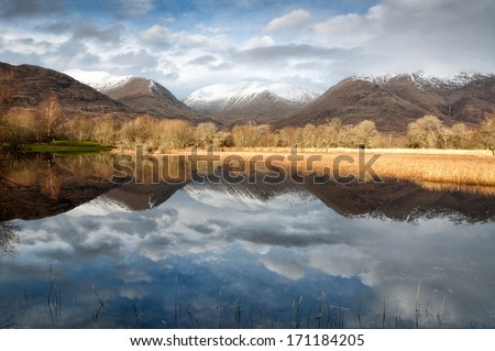Reflection in mirror of mountain lake