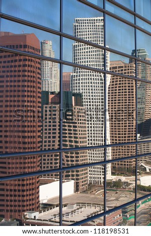 Reflection in skyscrapers - Los Angeles - stock photo