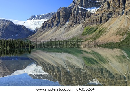 Reflection in smooth water of mountain lakes (Banff National Park, Alberta, Canada)