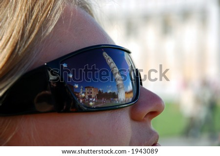Reflection in the Sunglasses - Pisa Tower - stock photo