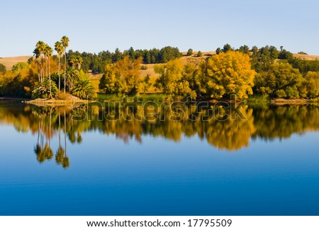 Reflection in the water in Napa Valley - stock photo