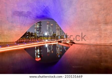 Reflection incheon at night - stock photo