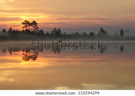 Reflection lake in the morning - stock photo