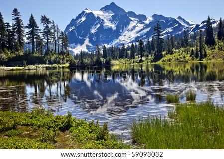 Reflection Lake Mount Shuksan Mount Baker Highway Snow Mountain Grass Trees - stock photo