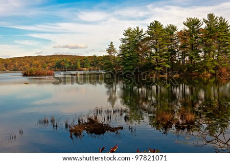 reflection,lake nawahunta new jersey - stock photo