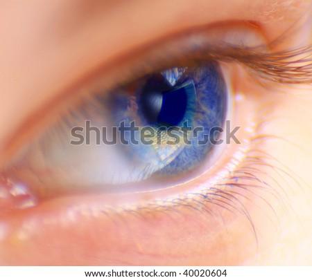 Reflection laptop in an eye - stock photo