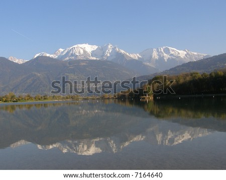 Reflection Mont Blanc to lake in autumn