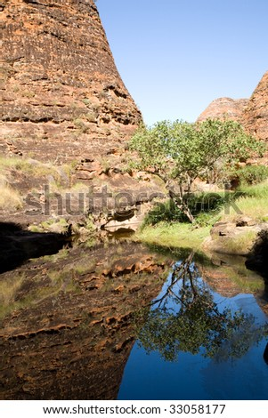 Reflection of a beehive dome in a pool near Cathedral Gorge in Bungle Bungle National Park