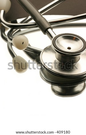 reflection of a stethoscope - stock photo