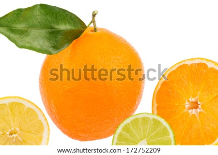 reflection of an orange. symbolic photo for healthy vitamins with fresh fruit - stock photo