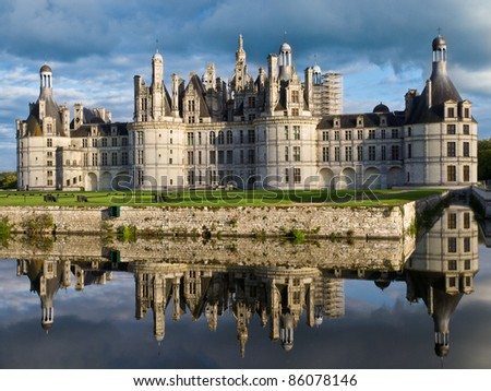 Reflection of Chambord castle