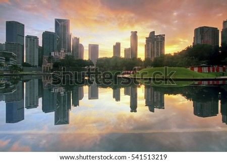 Reflection of city skyline at Symphony Lake KLCC, Kuala lumpur
