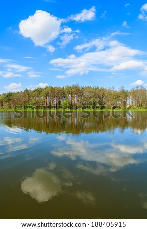 Reflection of clouds in water of a lake and trees in background - idyllic scenic landscape view in spring, southeastern Poland