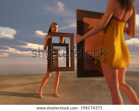 reflection of consciousness  - stock photo