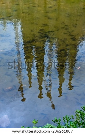 Reflection of famous Sagrada Familia in Barcelona, Spain - stock photo