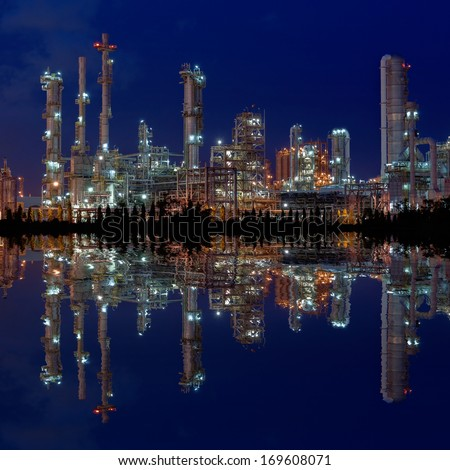 Reflection of industrial plant - stock photo
