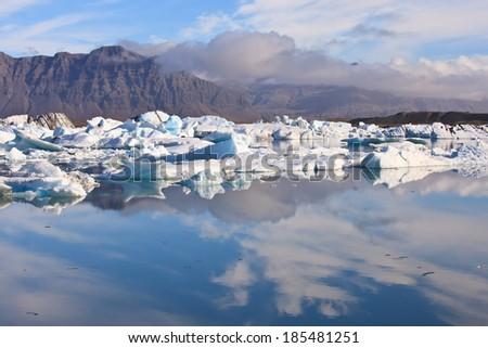 Reflection of Jokulsarlon Lagoon-the famous ice lake in  Iceland  - stock photo