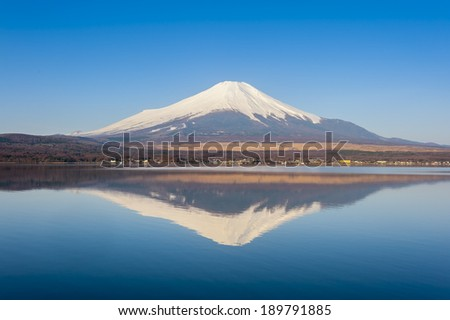 reflection of lake yamanaka - stock photo