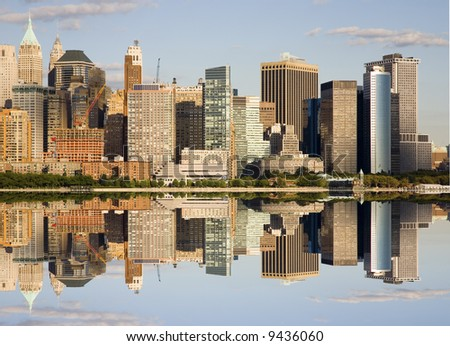 Reflection of Lower Manhattan - stock photo