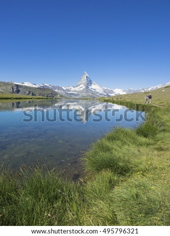 Reflection of Matterhorn in Lake Stellisee, Zermatt, Switzerland