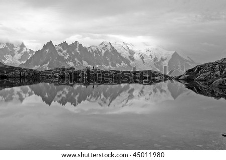 Reflection of Mont blanc - stock photo