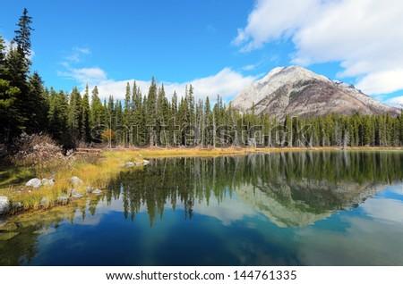 Reflection of Mount Buller in Buller Pond Kananaskis Alberta Canada  - stock photo