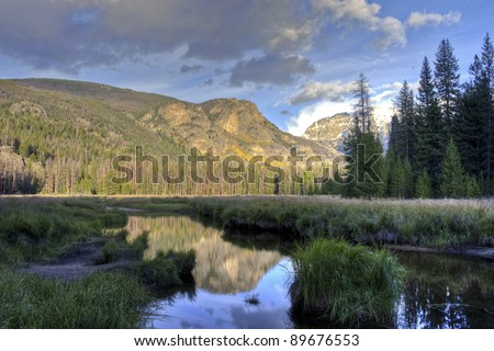 Reflection of mountains and forest in a pond. Colorado, USA