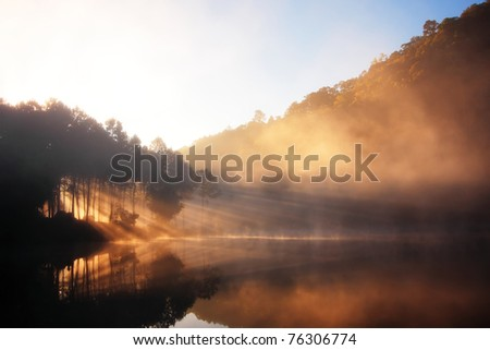 Reflection of Nature, North of Thailand - stock photo