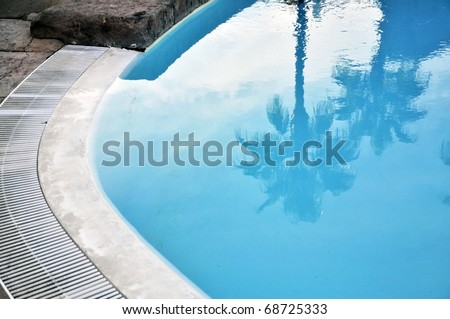 Reflection of Palmtrees in a warm and shallow swimming pool - stock photo