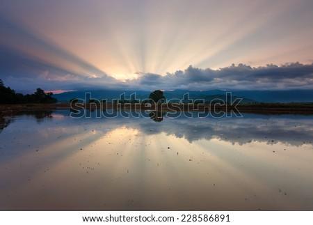 Reflection of sunrays at sunrise - stock photo