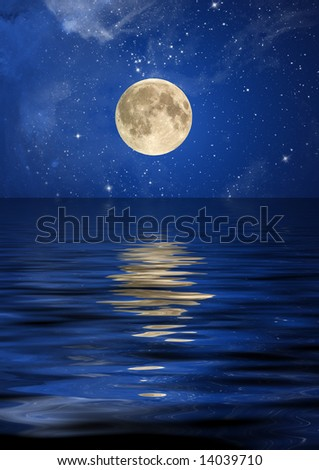 Reflection of the moon and stars at ocean. - stock photo