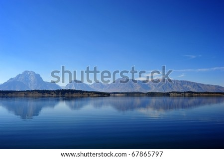 reflection of the mountain - stock photo