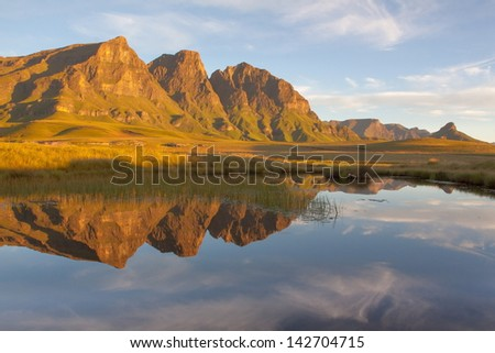 Reflection of the Peaks - stock photo