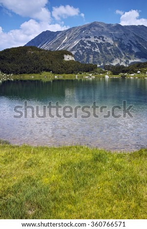 Reflection of Todorka Peak in Muratovo lake, Pirin Mountain, Bulgaria